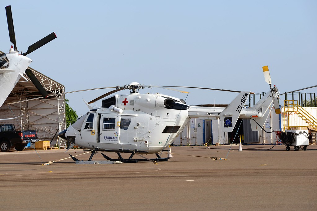 BK-117C.1 ZS-SFW c/n 7532 Starlite South Africa. Operating for European-Training-Mission in Mali (EUTM). Bamako-Sénou. Mali. October 2014.