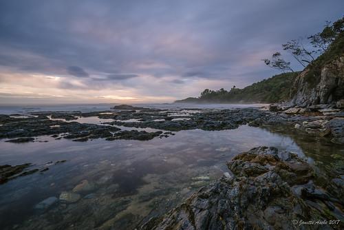 2016 australia diggerscamp nsw newsouthwales sonya7r yuraygirnationalpark beach clouds cloudy coast coastal longexposure moody rocks sea stormy sunrise