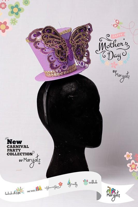 Flowers and Butterflies Purple Mini Top Hat