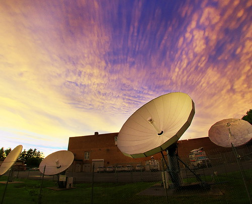 sunset sky white storm color clouds purple satellite dishes