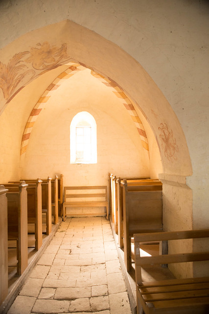 Interior of Old Højerup church, Stevns Klint - chalk cliffs in Zealand, Denmark