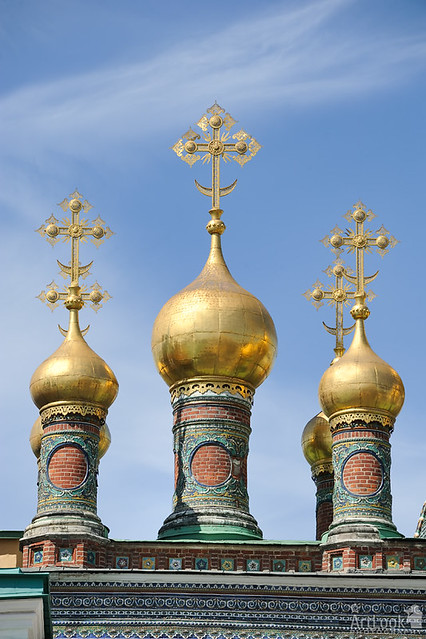 Perfect Golden Onion-Shape Domes with Crosses of Terem Churches
