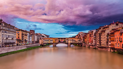old bridge sunset sky italy clouds river florence pastel medieval arno hdr pontevecchio