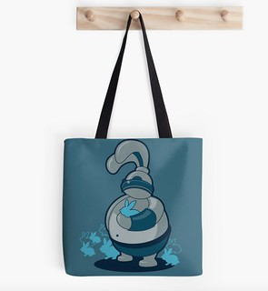 Robot Rabbit and Bunny Friends Tote Bag