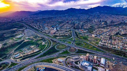 burjemilad milad tower tehran sunset hdr alborzmountainrange
