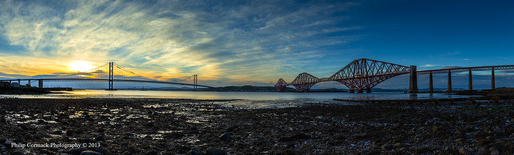 Forth Road & Rail Bridge at Sunset