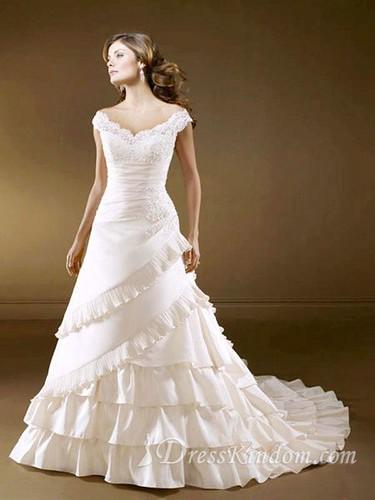 elegant off the shoulder cathedral white wedding dress