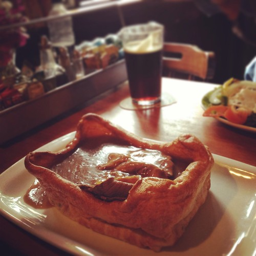 Giant Yorkshire pudding with roast beef and gravy | by Texarchivist