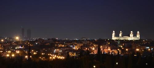 city tower night king amman twin mosque jordan hussein dabouq
