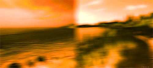 digital photoshop colour texture orange lakeshore sky clouds water shrubs waves diptych awardtree ultramodern