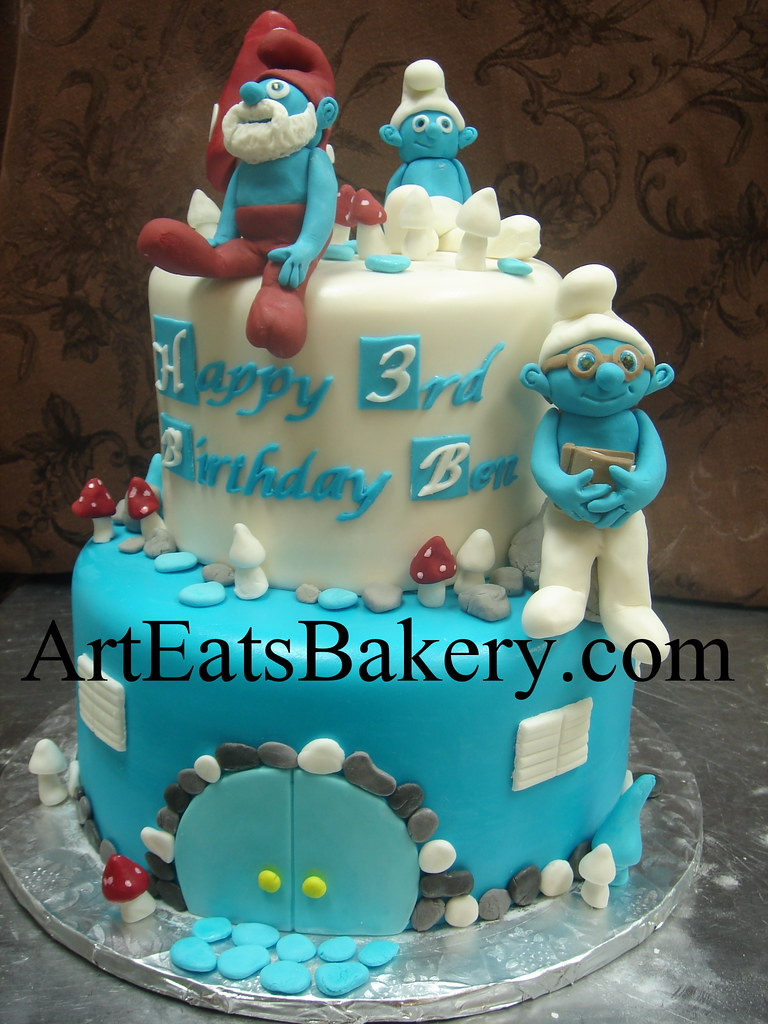 Awesome Two Tier Blue And White Fondant Kids Custom Unique Smurf Birthday Funny Birthday Cards Online Overcheapnameinfo