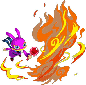 Ravio demonstrando o fire rod
