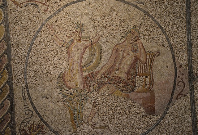 Mosaic floor depicting Apollo and Daphne, from the Villa Torre de Palma near Monforte, 3rd-4th century AD, National Archaeology Museum of Lisbon, Portugal