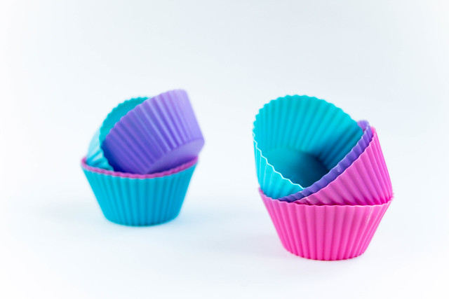 Colourful silicone forms for cupcakes