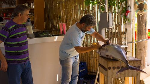 Carving up a yellowfin tuna at Moutsouna, Naxos | by brookscl
