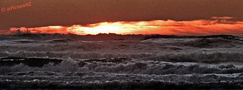 ocean sea orange water clouds sunrise dawn waves pacific rage crack sunup daybreak raging