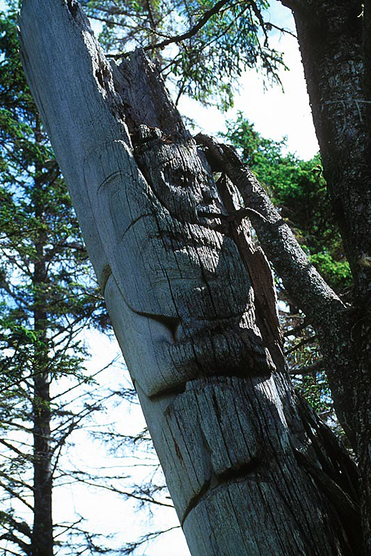 Totem Pole in Skedans Village, Louise Island, Haida Gwaii (Queen Charlotte Islands), British Columbia, Canada