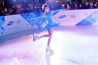 Figure skating on synthetic ice rink