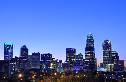 city sunset skyline nc dusk central northcarolina center cbd bluehour charlotteskyline uptowncharlotte
