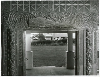 A carving of Paikea, the ancestor of the people of Whangara, East Coast, who believe he came to New Zealand on the back of a whale. The carving is in the Poho-o-Rawiri meeting house at Gisborne.