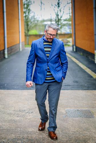 Smart menswear: Blue blazer \ striped sweater \ grey dress trousers \ brown brogues | Silver Londoner, over 40 style | by silverlondoner
