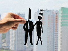 Fork and Knife Couple Handmade Original Paper Cut