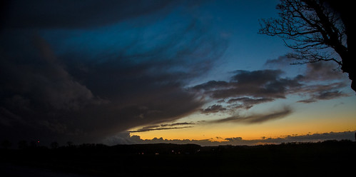 blue trees sunset sky cold yellow night clouds landscape lights sverige österlen skånelän