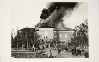 Jämsä old church burning 24 May 1925, Finland