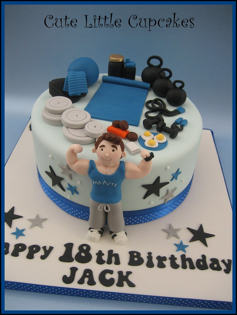 Groovy Gym Themed 18Th Birthday Cake Heidi Stone Flickr Personalised Birthday Cards Veneteletsinfo