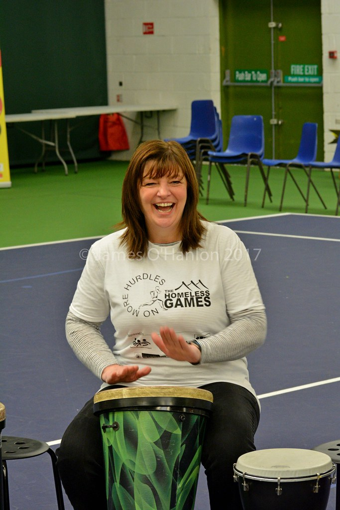 Ann has a go at the drums