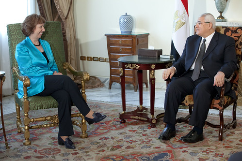Discussion between Adli Mansour, President of Egypt ad interim, on the right, and Catherine Ashton | by European External Action Service - EEAS