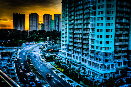 road sunset color tower yellow skyscraper buildings mall traffic curves manila hdr bonifacio 6d smaurapremier