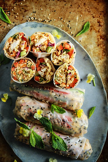 Honey Mango Sesame Chicken Salad Fresh Rolls from HeatherChristo.com | by Heather Christo