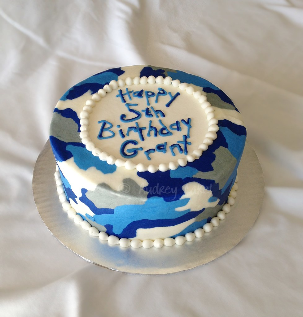 Superb Blue Camo Birthday Cake Theres No Hiding This Yummy Cake Flickr Funny Birthday Cards Online Overcheapnameinfo