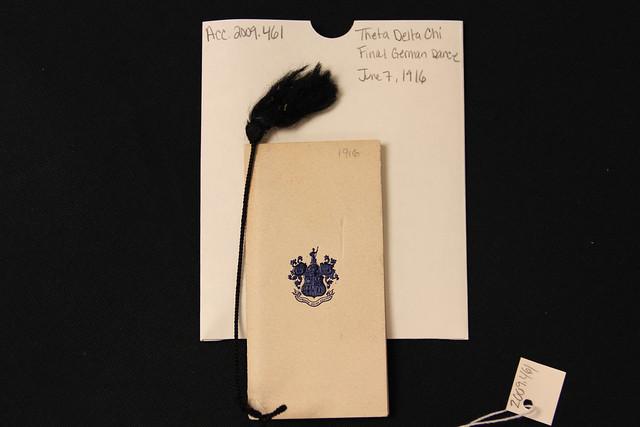 Theta Delta Chi Final German Dance Card, June 7, 1916 (Item 2009.461)