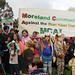 Panorama of kids and MCAT banner - Childrens March for the animals against East-West Link