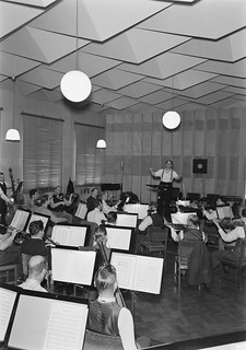The Finnish Radio Symphony Orchestra conducted by Erkki Linko in the studio, 1930s.