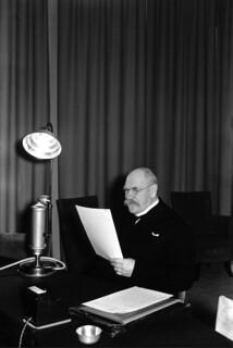 President Pehr Evind Svinhufvud talking on the radio, 1930s.