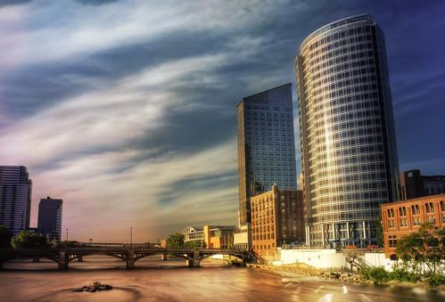 sunset yellow buildings river michigan grandrapids