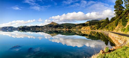 ocean newzealand sky clouds reflections landscape bay mar panoramas paisaje paisagem céu hills cielo nubes nuvens reflexos baía reflejos oceano photostitch novazelândia bahía nuevazelanda colinas