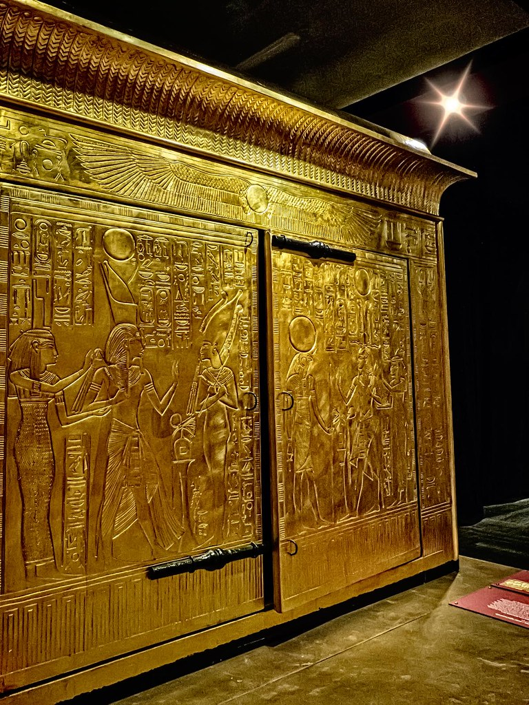 King Tutankhamun's gold burial shrine that contained his sarcophagus with three nested coffins New Kingdom 18th Dynasty Egypt 1332-1323 BCE (3)