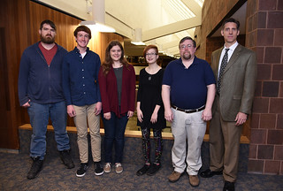 Tue, 04/04/2017 - 09:09 - NYSMATYC recipients Johnathan Peritore, Skylar Laessar,  Alexandra Gloskowski, Kiera Gross with GCC professors Philip Pickering and Christopher Kemp