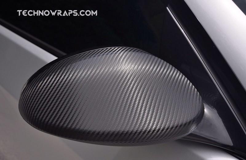 Carbon fiber wrapped BMW car mirror