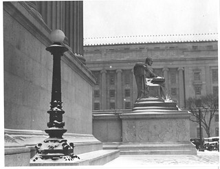 Photograph of the Male Statue, Study the Past, Located near the Pennsylvania Ave. Entrance to the National Archives Building, 01/02/1936
