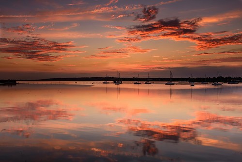 uk pink sunset red orange seascape beautiful june reflections boats still nikon haylingisland hampshire calm lee nd yachts filters grad southcoast tranquil d800 waterscape 2014 2470mm langstoneharbour heavenlysky sunsetsnapper layersofred