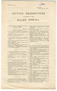 The List of the British Decorations Awarded to the Allied Armies