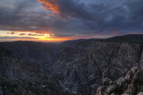 sunset vacation nature nationalpark nikon colorado unitedstates cloudy outdoor hiking canyon overlook hdr crawford gunnison blackcanyonofthegunnison d300 photomatix sunsetview 1116mm