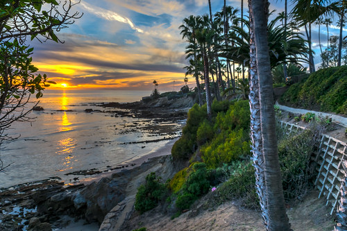 california catalinaisland hdr heislerpark lagunabeach nikon nikond5300 pacificocean beach clouds evening geotagged ocean palmtree palmtrees park reflection reflections retainingwall seascape shoreline sky sunset tree trees wall unitedstates