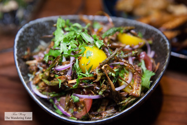Crispy okra salad - leeks, red onions, cherry tomatoes, lime, cilantro, chaat masala