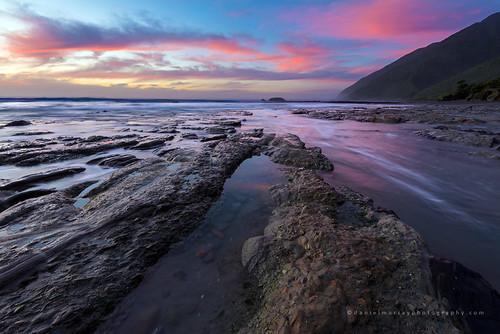 sunset sea newzealand water rock landscape coast scenery nz southisland southnz
